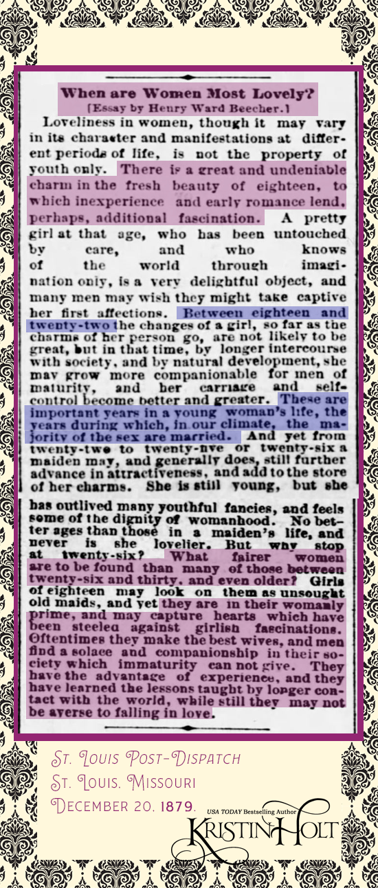 Kristin Holt | When are Women Most Lovely? An Essay by Henry Ward Beecher, 1879, with commentary and styling by Kristin Holt. St. Louis Post-Dispatch of St. Louis, Missouri. December 20, 1879.