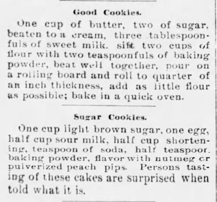 Kristin Holt | Sugar Cookies in Victorian America | Two Sugar Cookie Recipes from Mound Valley Herald of Mound Valley, Kansas on August 21, 1896.