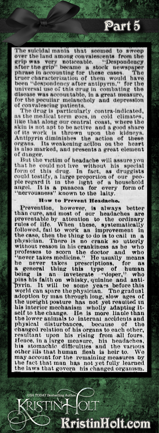 Kristin Holt | Victorian-American Headaches: Part 3, Why Your Poor Head Aches from Omaha Daily Bee of Omaha, NE on December 4, 1893. Part 5 of 6.