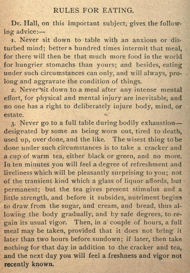 Kristin Holt | Rules for Eating, from The Ever-day Cook-Book and Encyclopedia of Practical Recipes, 1889. Part 1 of 2.