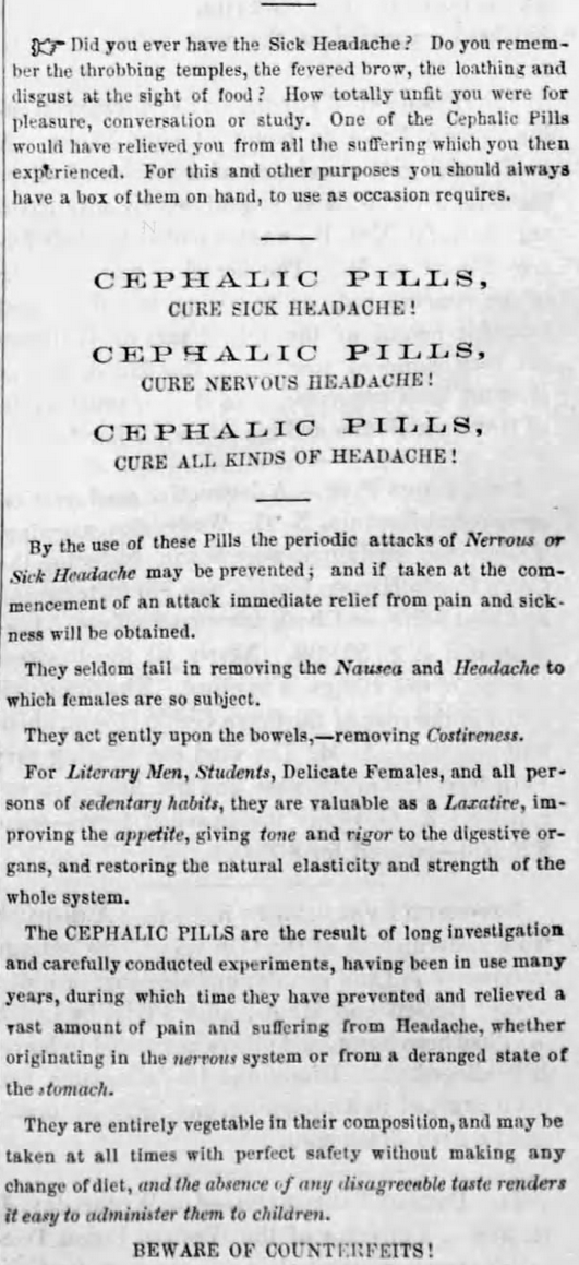 Kristin Holt | Victorian-American Headaches: Part 4. Cephalic Pills cure sick headache. For sale by individual mail-order, advertised in New England Farmer of Boston, Mass. on November 24, 1860. Part 1 of 2.