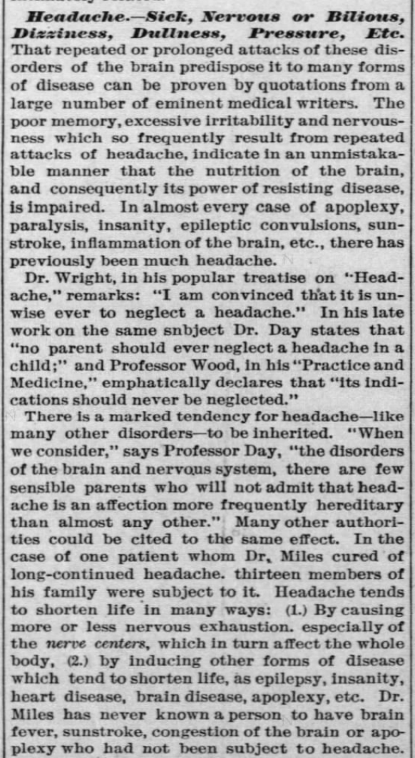 Kristin Holt | Victorian-American Headaches: Part 4. Dr. Miles' Nervine Medicine, advertised in Ellsworth Reporter of Ellsworth, Kansas on March 22, 1894.