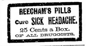 Kristin Holt | Victorian-American Headaches: Part 4. Beecham's Pills, advertised in The Salt Lake City Tribune on March 15, 1891.