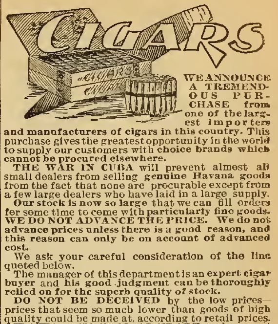 Kristin Holt | Victorian-American Tobacco Advertisements. Header of Cigars Section, Part 1, of the Sears Catalog, 1898.