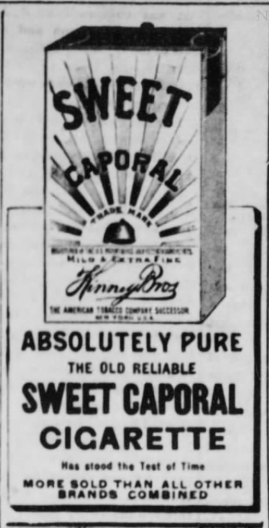 "Kristin Holt | Victorian-American Tobacco Advertisements. Sweet Caporal Cigarette, ""More sold than all other brands combined."" Advertised in The Daily Deadwood Pioneer of Deadwood, South Dakota. January 1, 1895."