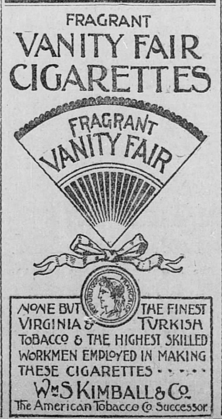Kristin Holt | Victorian-American Tobacco Advertisements. Vanity Fair Cigarettes, advertised in The Salt Lake Herald of Salt Lake City, Utah. January 1, 1895.