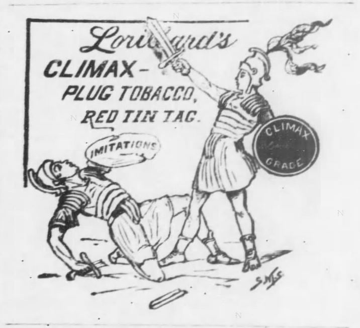 Kristin Holt | Victorian-American Tobacco Advertisements. Climax Plug Tobacco advertised, illustrated, in The Wyandott Herald of Kansas City, Kansas. February 4, 1886.