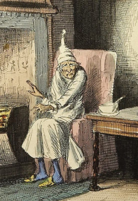 Kristin Holt | Victorian-American Headaches: Part 6. Bald Men Need Nightcaps. Image: Illustration of Ebenezer Scrooge, from Charles Dickens's A Christmas Carol, (Illustration by John Leech). Image Public Domain, courtesy of Wikipedia.