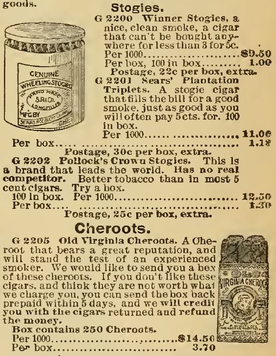 Kristin Holt | Victorian-American Tobacco Advertisements. Stogies and Cheroots offered for sale in the 1898 Sears Catalogue.