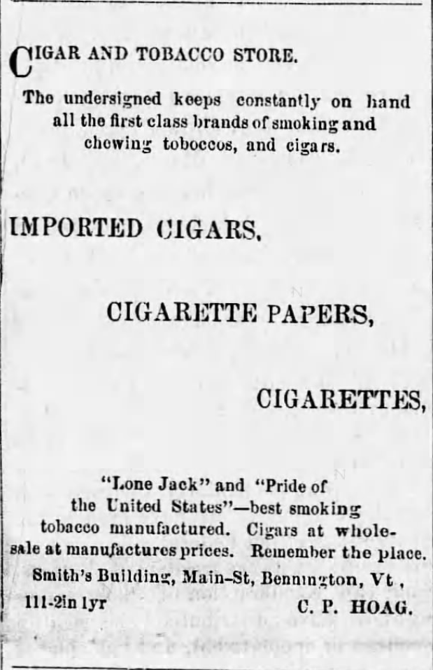 Kristin Holt | Victorian-American Tobacco Advertisements. Tobacco store advertises cigarette papers and cigarettes. Published in The Vermont Gazette of Bennington, Vermont. November 17, 1872.