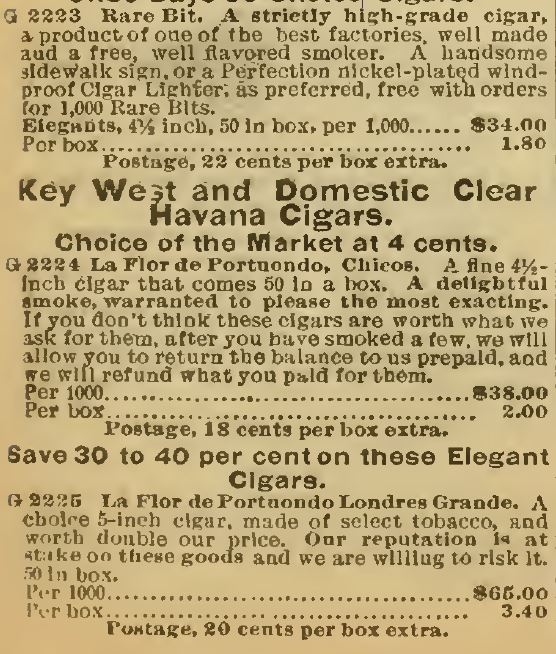 Kristin Holt | Victorian-American Tobacco Advertisements. Key West and Domestic Clear Havana Cigars advertisements continue from Sears Catalog, 1898.