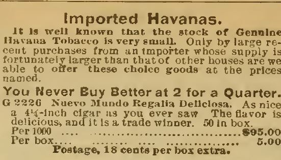 Kristin Holt | Victorian-American Tobacco Advertisements. Imported Havana tobacco is rare, but these advertised brands (Sears Catalog, 1898) claim to be the real deal.