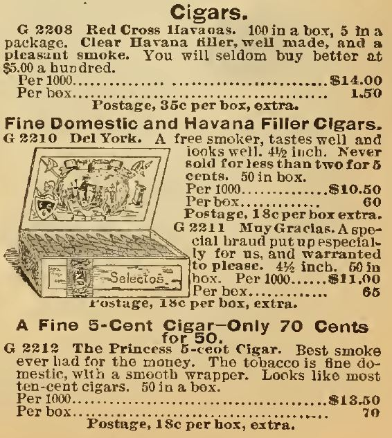 Kristin Holt | Victorian-American Tobacco Advertisements. Cigars advertised in the Sears Catalog, 1898, section containing Fine Domestic and Havana Filler Cigars, Red Cross Havanas, and fine 5-cent cigars.