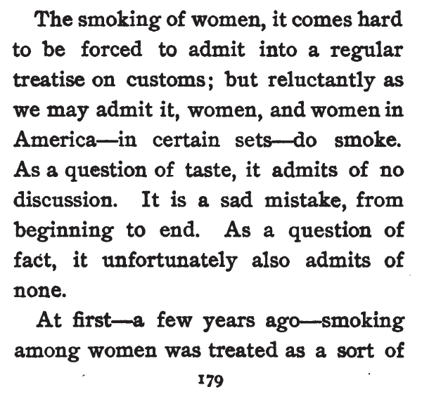 Kristin Holt | Common Details of Western Historical Romance that is Historically INCORRECT, Part 3 (Tobacco). Smoking of Women, from Etiquette for Americans, 1898.