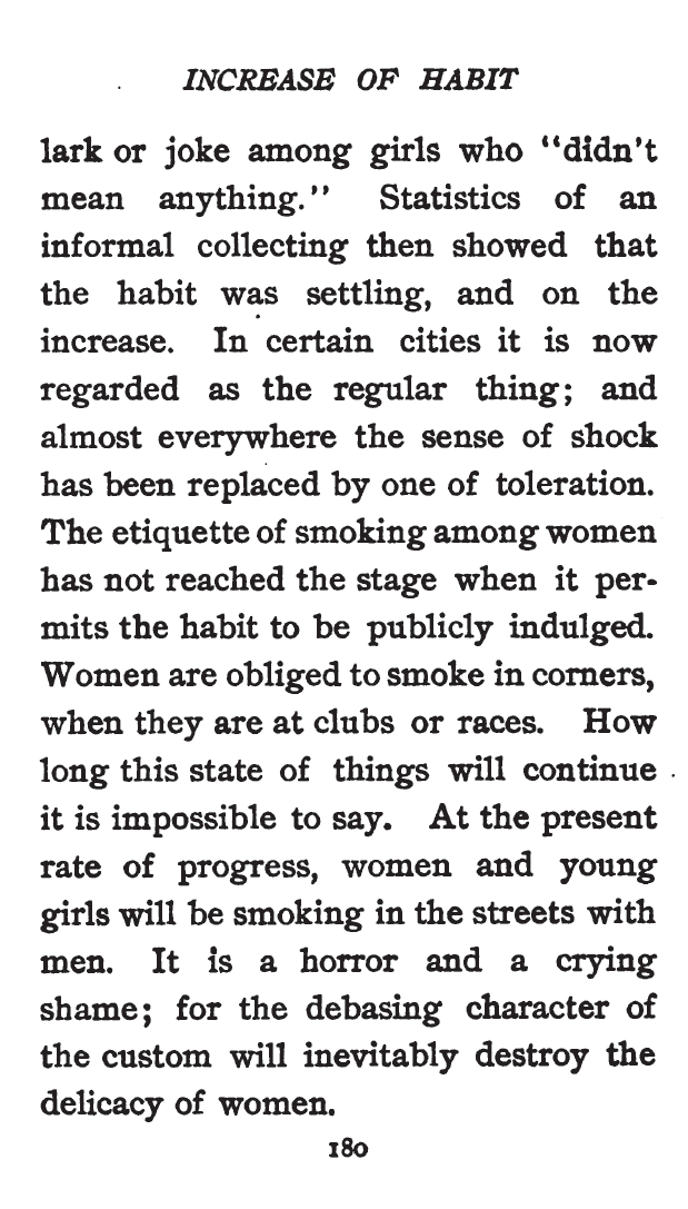 Kristin Holt | Common Details of Western Historical Romance that is Historically INCORRECT, Part 2 (Tobacco). Smoking of Women, from Etiquette for Americans, 1898.