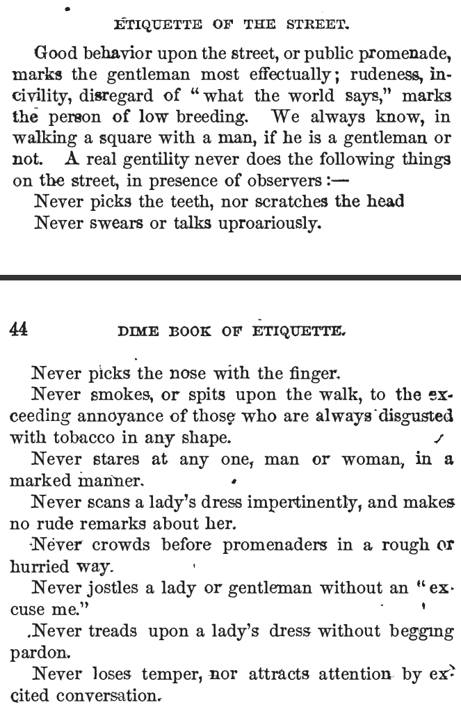 Kristin Holt | Street Etiquette includes NO smoking and NO spitting tobacco juice with the same vehemence as NO picking of the nose. Published in 1859: Beadle's Dime Book of Practical Etiquette for Ladies and Gentlemen. (From Common Details of Western Historical Romance that are Historically INCORRECT, Part 3 (Tobacco).