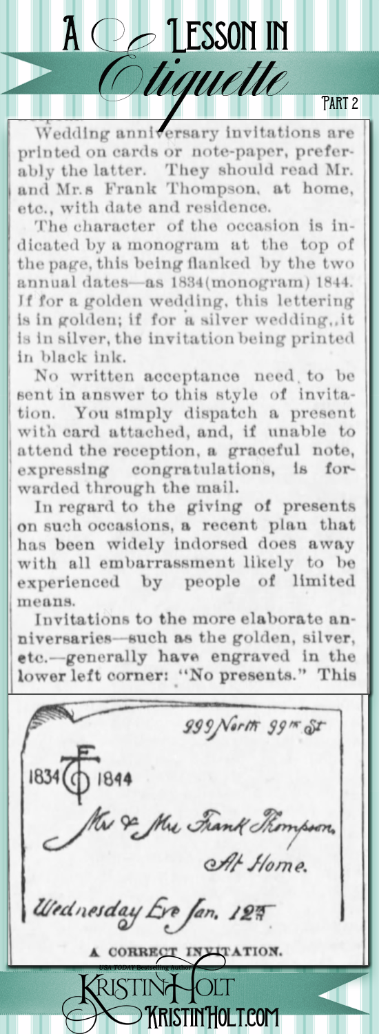 Kristin Holt | Victorian-American Wedding Anniversaries: A Lesson in Wedding Anniversary Etiquette, Part 2 of 4. From The Eureka Herald and Greenwood County Republican of Eureka, Kansas on April 20, 1894.