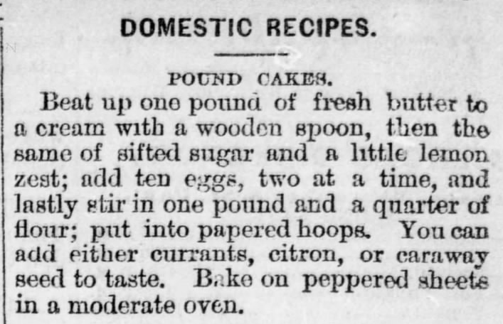 Kristin Holt | Pound Cake in Victorian America. Pound Cakes recipe from The Watertown News of Watertown, Wisconsin. November 24, 1880.