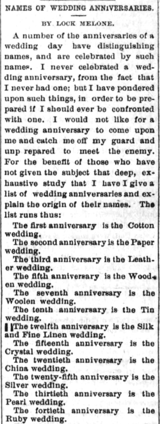 Kristin Holt | Victorian-American Wedding Anniversaries: 1 of 6: Victorian-American Wedding Anniversaries and Sarcasm Victorian-style. From Santa Cruz Sentinel of Santa Cruz, California on November 5, 1884.