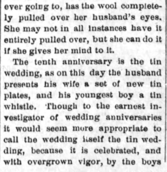 Kristin Holt | Victorian-American Wedding Anniversaries: 3 of 5: Victorian-American Wedding Anniversaries and Sarcasm Victorian-style. From Santa Cruz Sentinel of Santa Cruz, California on November 5, 1884.