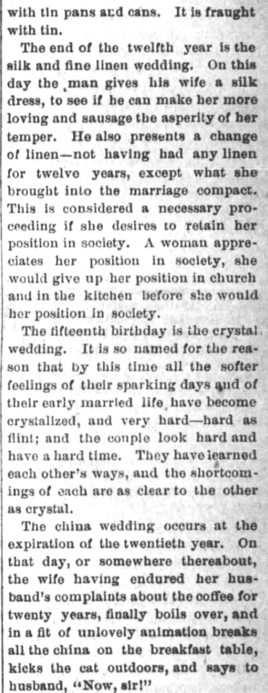 Kristin Holt | Victorian-American Wedding Anniversaries: 4 of 5: Victorian-American Wedding Anniversaries and Sarcasm Victorian-style. From Santa Cruz Sentinel of Santa Cruz, California on November 5, 1884.