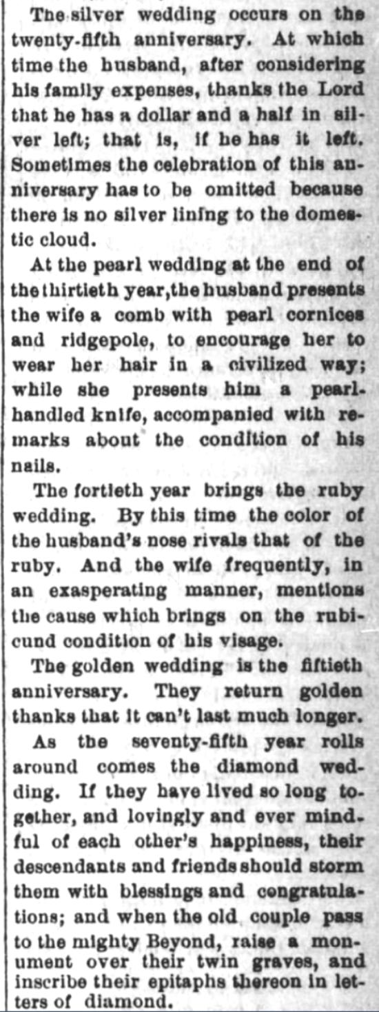 Kristin Holt | Victorian-American Wedding Anniversaries: 5 of 5: Victorian-American Wedding Anniversaries and Sarcasm Victorian-style. From Santa Cruz Sentinel of Santa Cruz, California on November 5, 1884.
