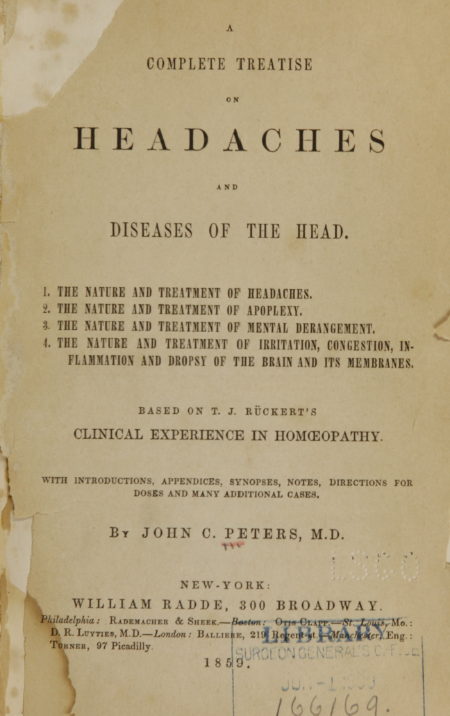Kristin Holt | Victorian-American Headache; Part 7. Title Page: A Treatise on Headaches and Diseases of the Head (1859)