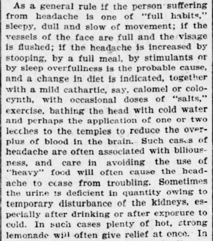 "Kristin Holt | Victorian-American Headache: Part 7. From ""Such a Headache! An Old Practitioner's Notes on the Treatment of the Affliction,"" published in The Indianapolis Journal of Indianapolis, Indiana on January 6, 1901."