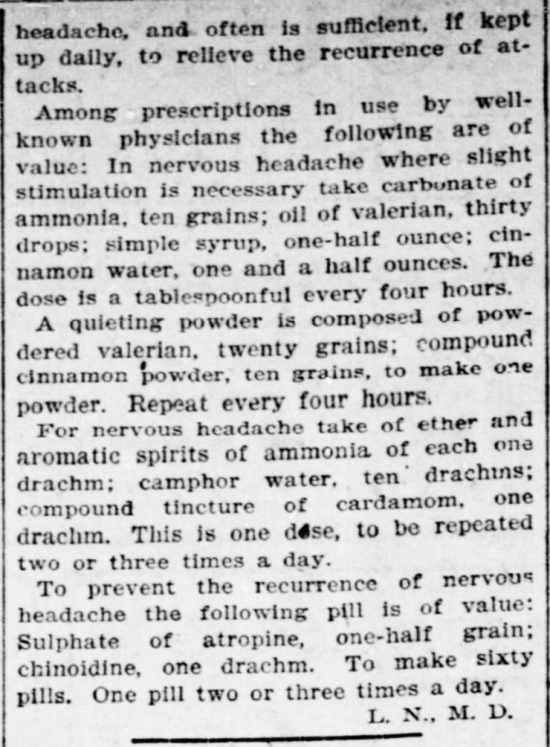 "Kristin Holt | Victorian-American Headaches: Part 7. Concluding remarks (part 2 of 2) of ""Such a Headache,"" within The Indianapolis Journal of Indianapolis, Indiana on January 6, 1901."