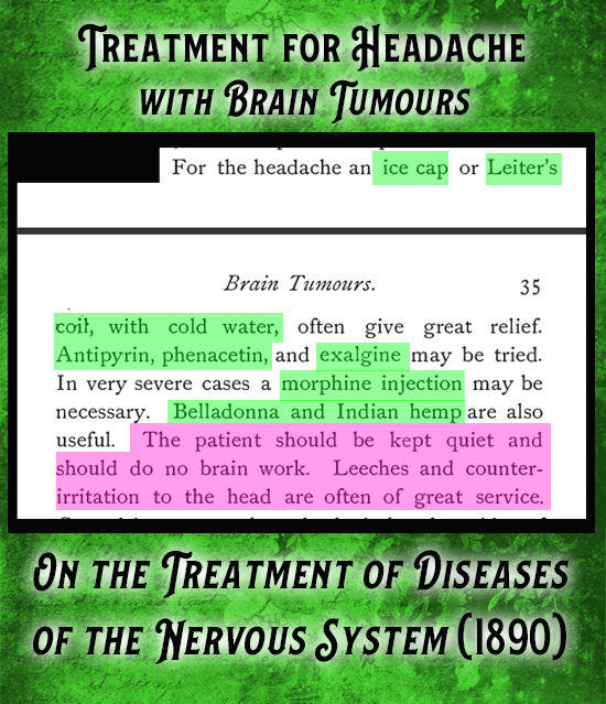 "Kristin Holt | Victorian-American Headache: Part 7. Treatment for Headache with Brain Tumours from On The Treatment of Diseases of the Nervous System (1890). ""For the headache an ice cap or Leiter's coil, with cold water, often give great relief. Antipyrin, phyenacetin, and exalgine may be tried. In very severe cases a morphine injection may also be necessary. Belladonna and Indian Hemp are also useful. The patient should be kept quiet and should do no brain work. Leeches and counter-irritation to the head are often of great service."""