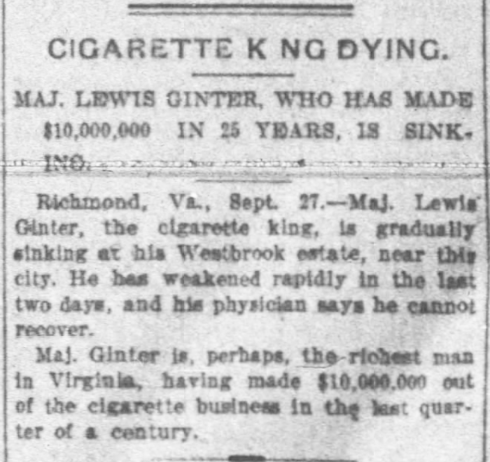 Kristin Holt | Victorian Tobacco: Cures or Kills? Cigarette King leaves wealthy estate. Buffalo Morning Express and Illustrated Buffalo Express of Buffalo, New York on September 29, 1897.