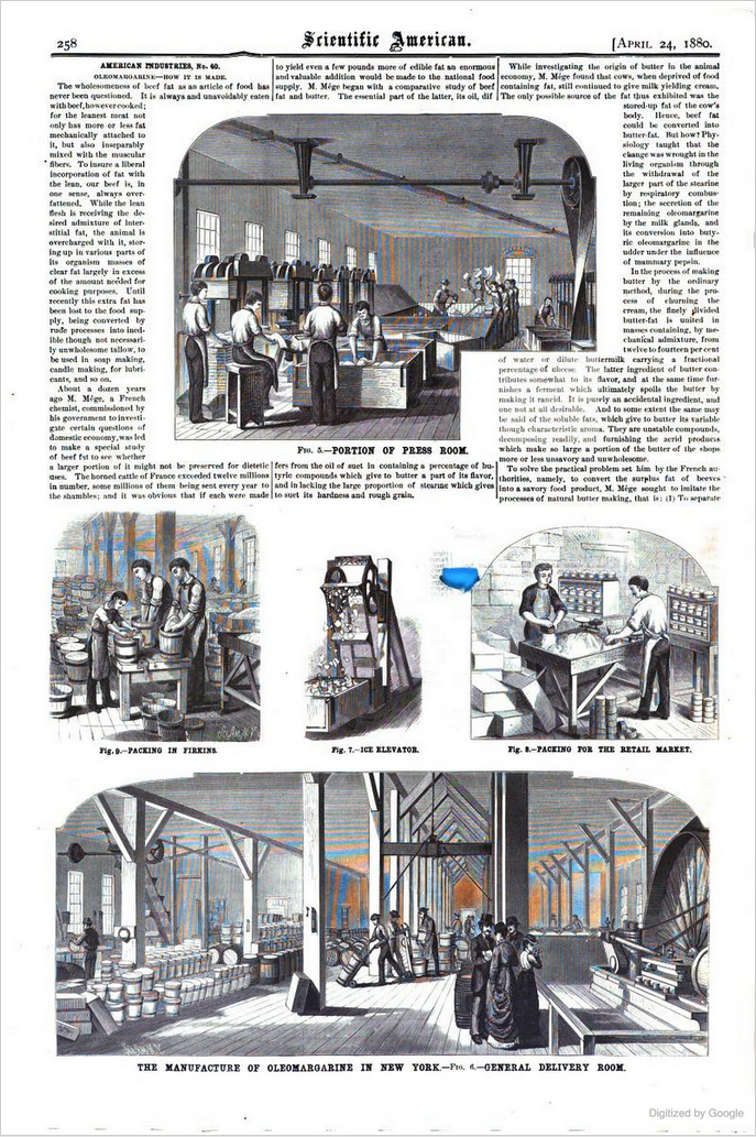Kristin Holt | Victorian America's Oleomargarine: Illustration of The Manufacture of Oleomargarine in New York, published in the Scientific American on April 24, 1880.