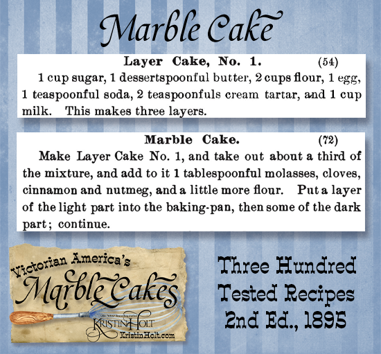 Kristin Holt   Victorian America's Marble Cakes. Marble Cake recipe (spice) published in Three Hundred Tested Recipes, 2nd Edition, 1895.